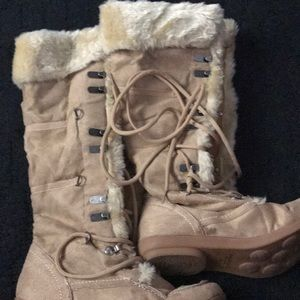 Soda Shoes - Beige faux suede with plush interior lace up boot